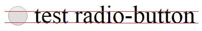 Текст выровнен чуть ниже центра радио-кнопки
